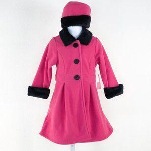 Sophie Rose Pink Black Faux Fur Trimmed Pea Coat